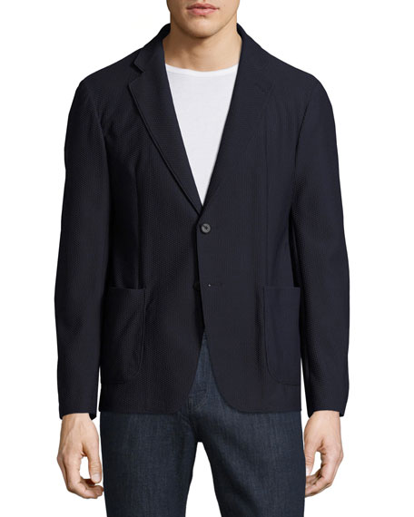 Armani Collezioni Textured Mesh Two-Button Blazer, Navy Blue