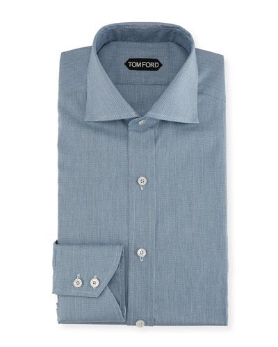 Mini-Texture Cotton Dress Shirt