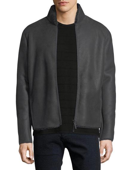 Short Leather & Shearling Jacket