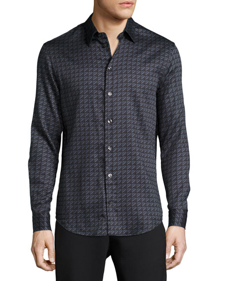 Armani Collezioni Scale-Cut Square Cotton Sport Shirt, Gray
