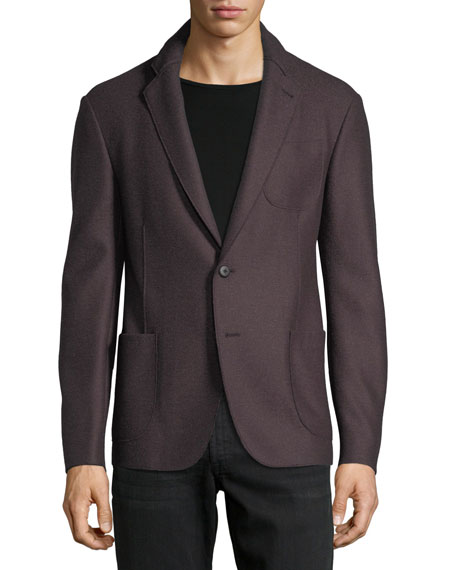 Armani Collezioni Boiled Wool-Blend Soft Jacket, Dark Red