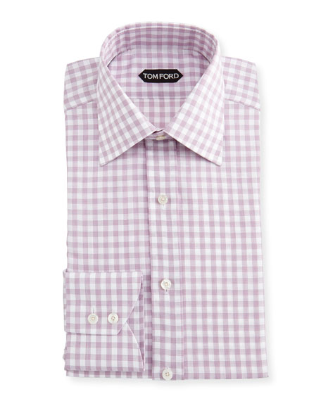Slim-Fit Check Cotton-Linen Dress Shirt