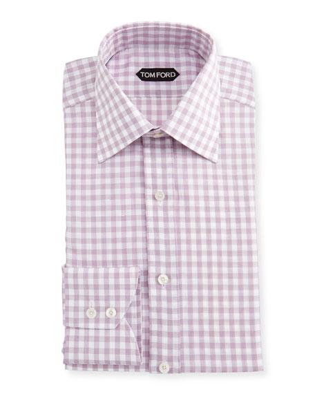 Slim-Fit Check Cotton-Linen Dress Shirt