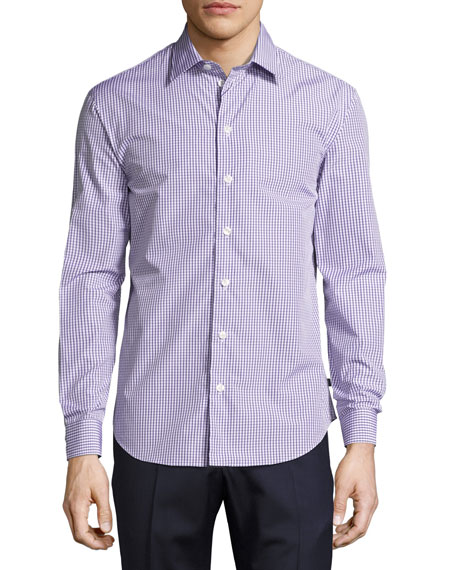 Armani Collezioni Box Check Cotton Sport Shirt, Multicolor