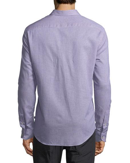 Neat Mini-Gingham Cotton Shirt, Blue