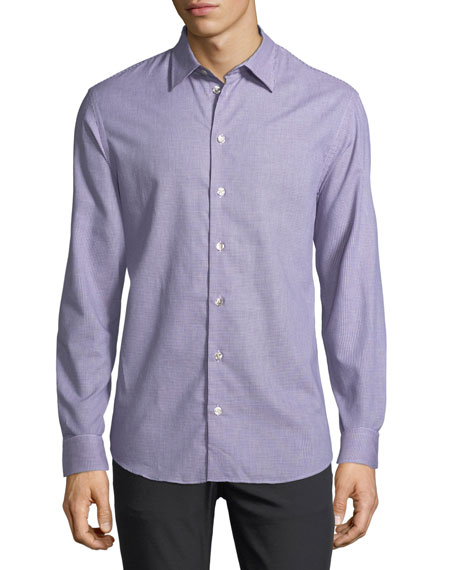 Armani Collezioni Neat Mini-Gingham Cotton Shirt, Blue