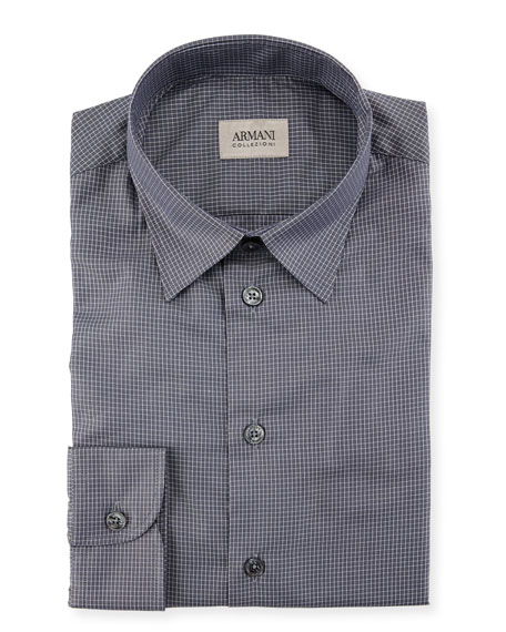 Armani Collezioni Mini Box Check Cotton Sport Shirt