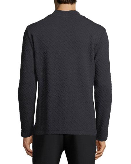 Textured Geometric V-Neck Sweater