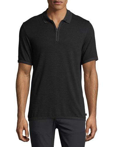 Micro-Chevron Quarter-Zip Polo Shirt