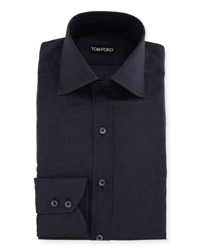 Slim-Fit Tonal Check Dress Shirt, Navy