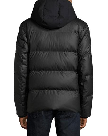 Microfiber Hooded Puffer Jacket, Black