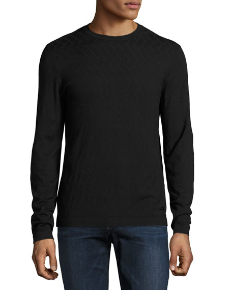 Geometric Crewneck Sweater, Black
