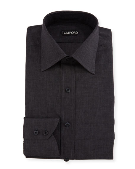 Slim-Fit Tonal Check Dress Shirt, Charcoal