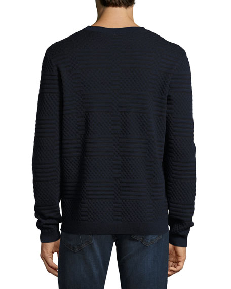 Bicolor Jacquard Crewneck Sweater, Navy/Black