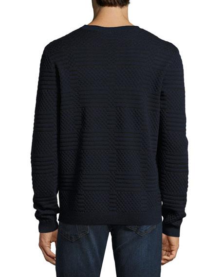 Bicolor Jacquard Crewneck Sweater, Navy/Black