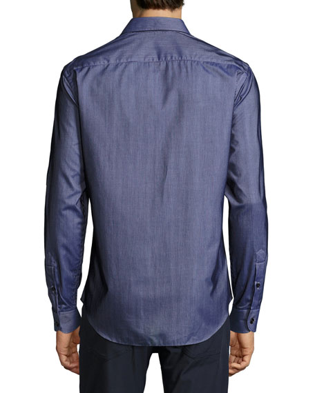 Flocked-Stripe Sport Shirt, Navy