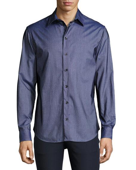 Armani Collezioni Flocked-Stripe Sport Shirt, Navy