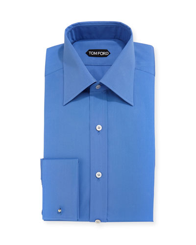Solid-Color French-Cuff Slim Fit Dress Shirt