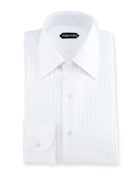 Slim-Fit Pleated Tuxedo Shirt