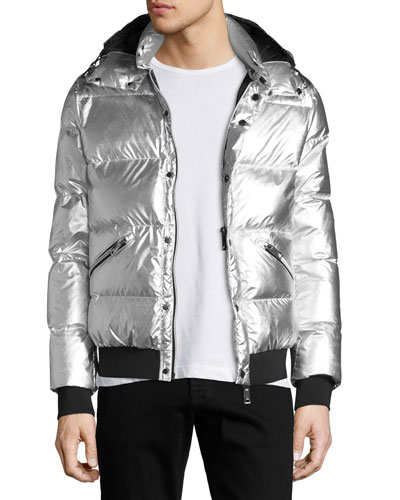 Metallic Short Puffer Jacket, Gray