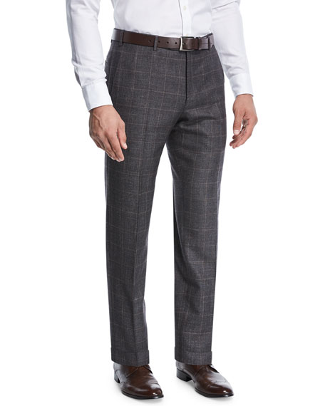 Grid-Checked Wool Trousers