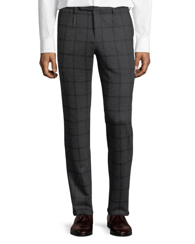 Windowpane Jersey Trousers