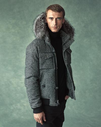 Houndstooth Parka with Fur-Trim Hood