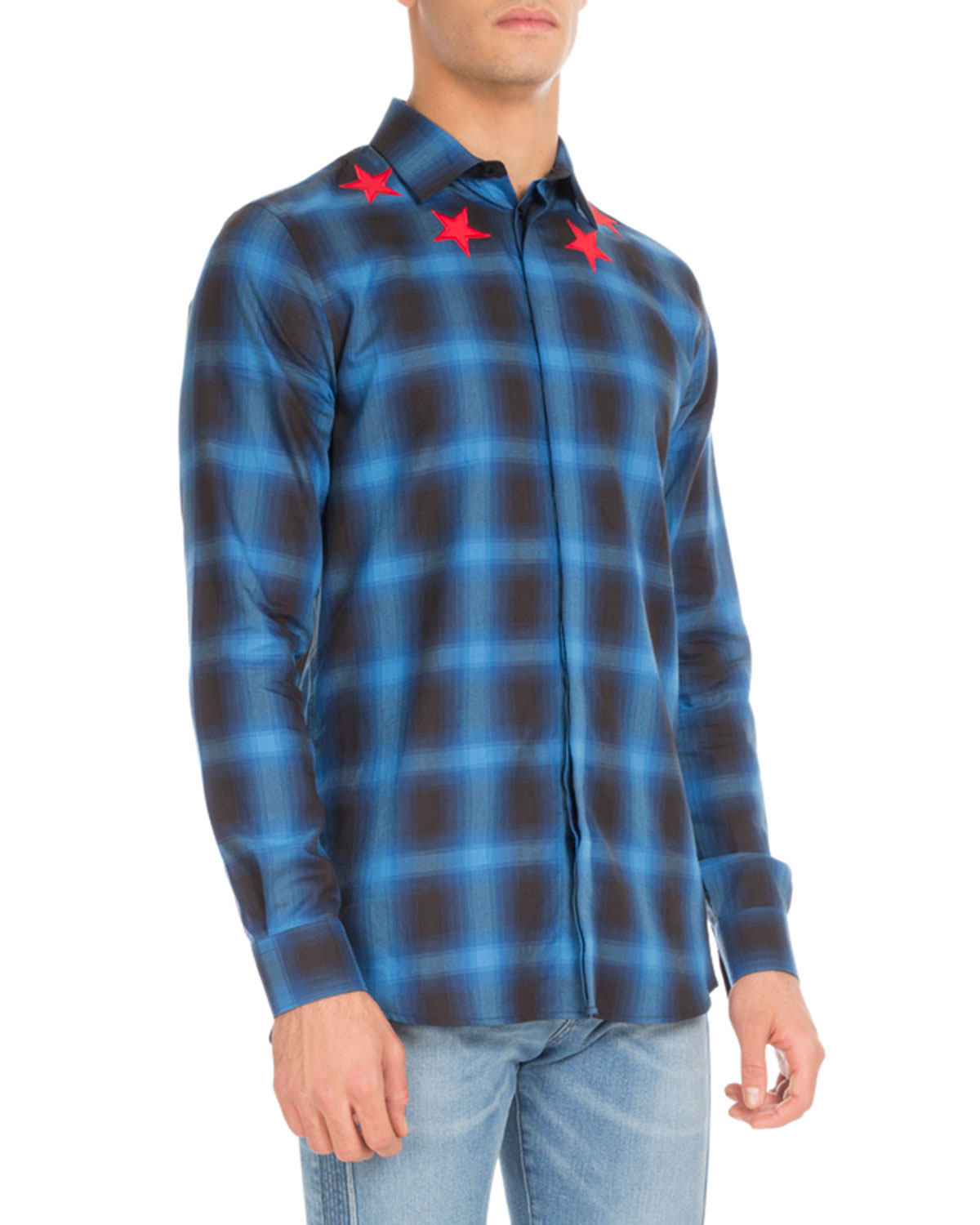 d0be960c3e8 Givenchy Plaid Star-Embroidered Button-Front Shirt
