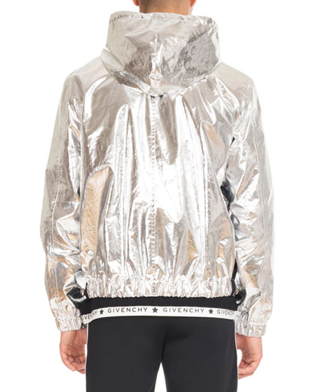 Hooded Foil Zip-Front Jacket, Silver