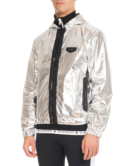 Givenchy Hooded Foil Zip-Front Jacket, Silver