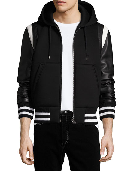 Givenchy Leather-Sleeve Neoprene Hooded Jacket