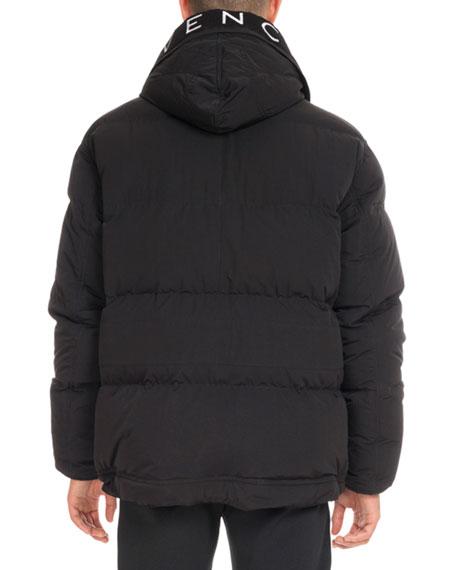 Down Coat with Logo Hood, Black