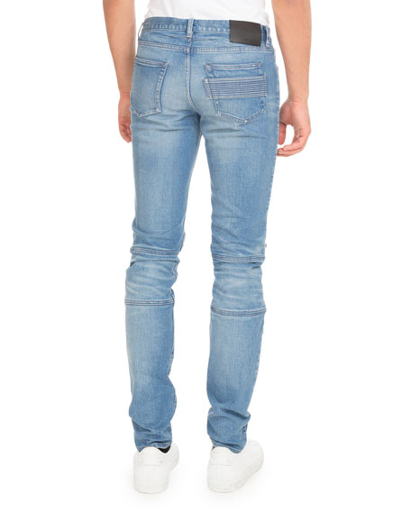 Givenchy Biker Denim Skinny Jeans with Zippers, Blue