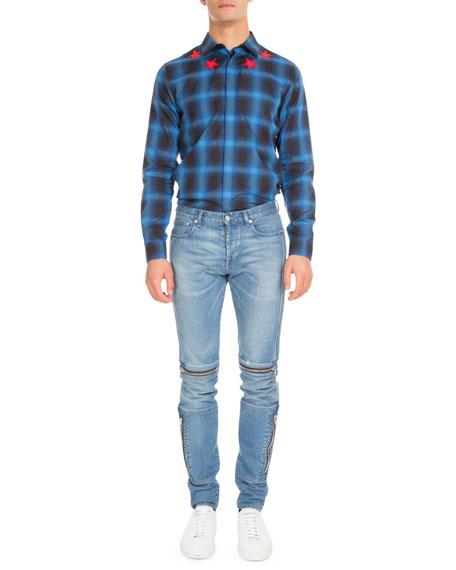 Biker Denim Skinny Jeans with Zippers, Blue