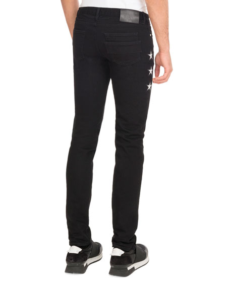 Star-Side Denim Skinny Jeans, Black