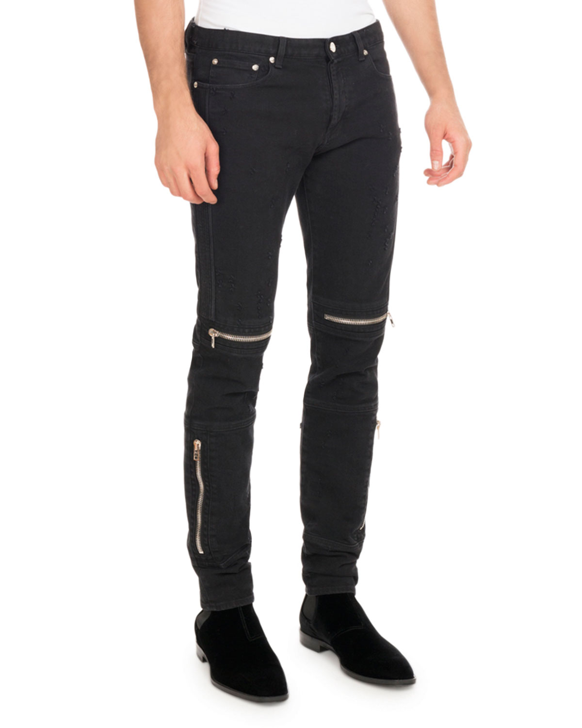 0675c0d54b3 Givenchy Distressed Denim Biker Skinny Jeans, Black | Neiman Marcus