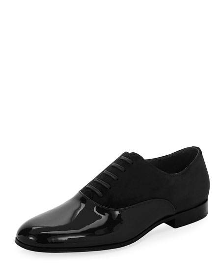 Vittorio Patent Leather & Suede Lace-Up Shoe, Black