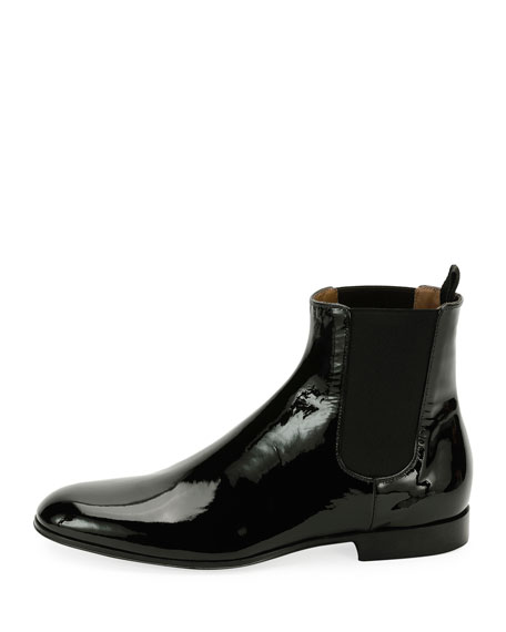Alain Men's Patent Leather Chelsea Boot, Black