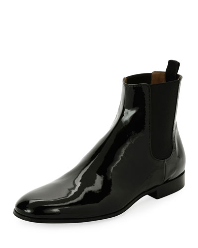 Alain Men's Patent Leather Chelsea Boot  Black