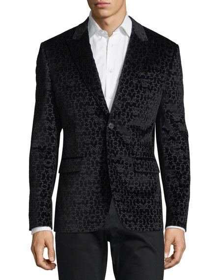 Givenchy Logo-Pattern Velvet Evening Jacket