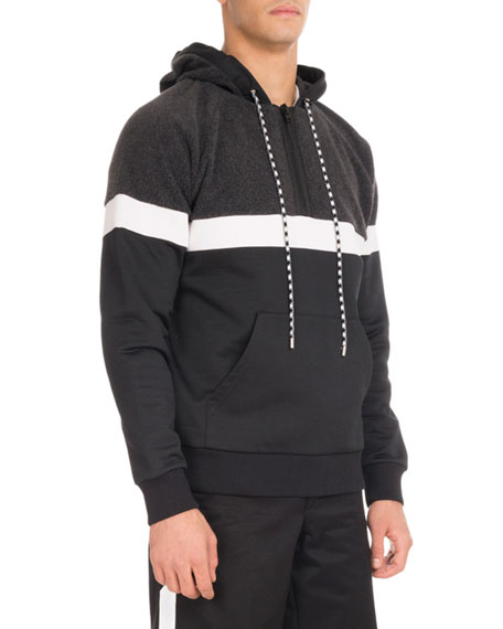Givenchy Colorblock Quarter-Zip Hoodie, Charcoal