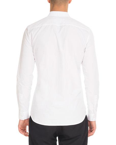 Star-Collar Button-Front Shirt, White