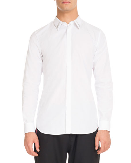 Givenchy Star-Collar Button-Front Shirt, White