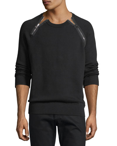 BLACK SWEATSHIRT W ZIPPERS A