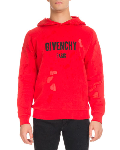 Distressed Cotton Logo Hoodie, Red