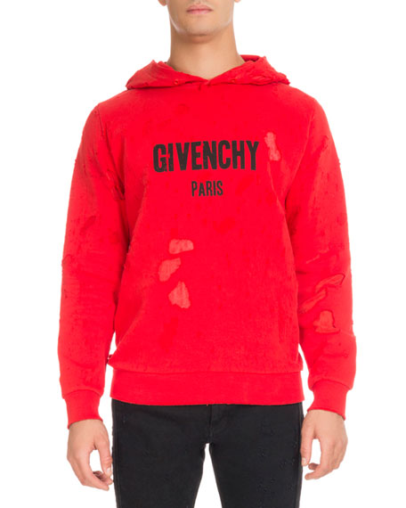 Givenchy Distressed Cotton Logo Hoodie, Red