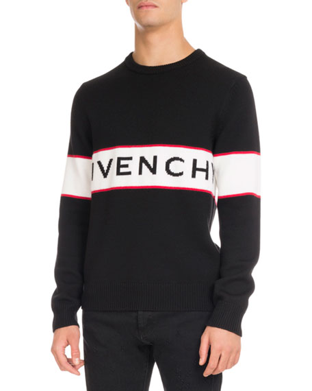 Givenchy Logo Stripe Wool Sweater Black Neiman Marcus