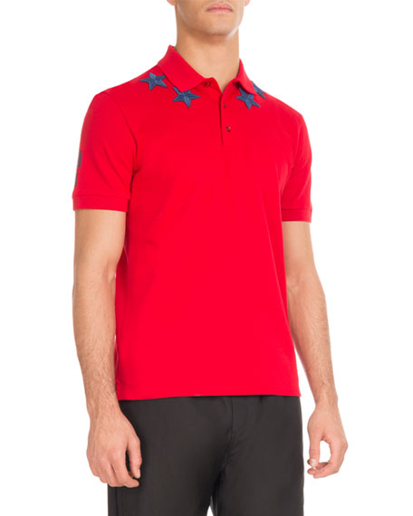 Givenchy Cuban-Fit Star-Patch Polo Shirt, Red/Blue