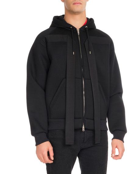 Neoprene Ribbon-Trim Zip-Front Hoodie, Black