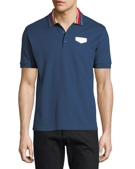 Givenchy Cuban-Fit Striped-Collar Polo Shirt